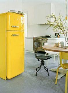 yellow retro fridge