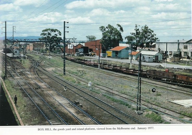 old Box Hill station in background, goods yard in foreground, taken January 1977