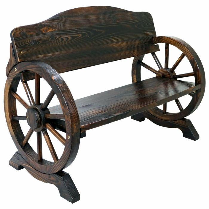 par exemple c'est un banc de jardin roue de chariot