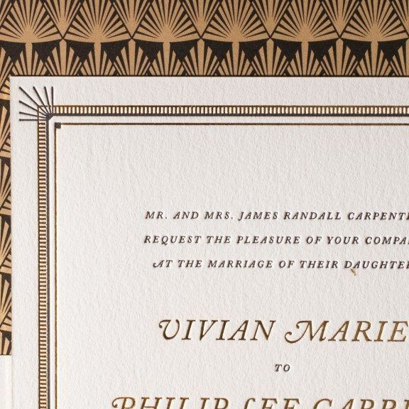 The Odeon letterpress wedding invitation suite by Jessica Tierney for Bella Figura features art deco motifs, vintage fonts, gold foil and black ink.