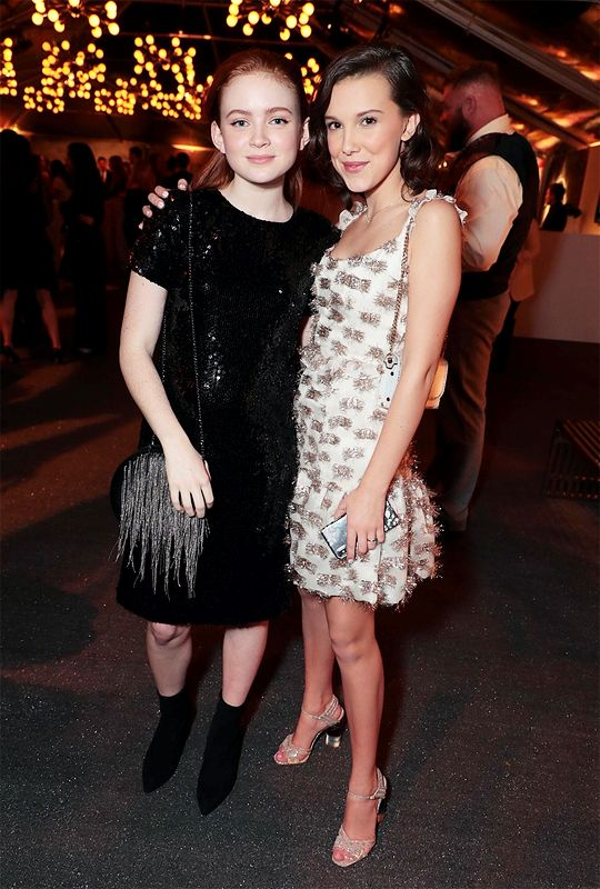 """eggogorgon: """" Sadie Sink and Millie Bobby Brown attend Entertainment Weekly's Screen Actors Guild Award Nominees Celebration at Chateau Marmont on January 20, 2018 """""""