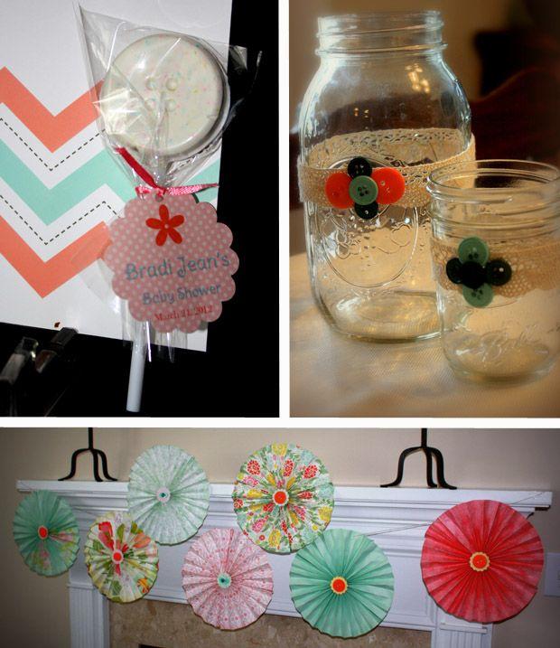 A Chevron themed Cute as a Button Baby Shower!