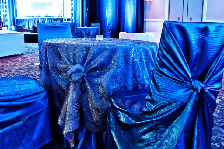Use The Fireworks Linen For A Bright Blue Bat Mitzvah