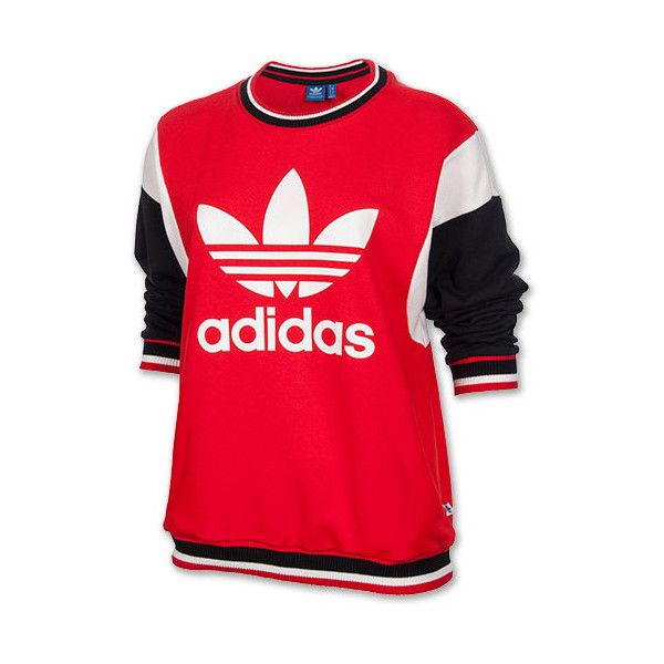 Women's adidas Originals Vintage Crew Sweatshirt ($55) ❤ liked on Polyvore  featuring tops,