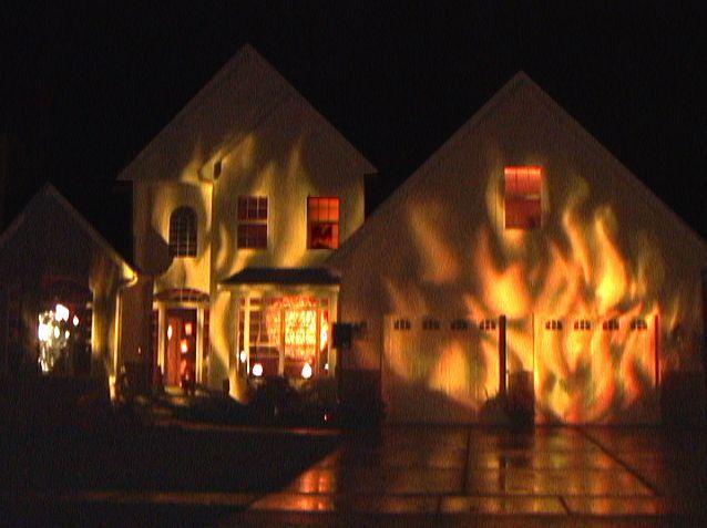 fire house halloween display decoration with light - Halloween Lighting Ideas