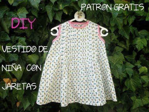 Como hacer un vestido de niña con jaretas, patrón gratis: Diy vestido de niña con jaretas.