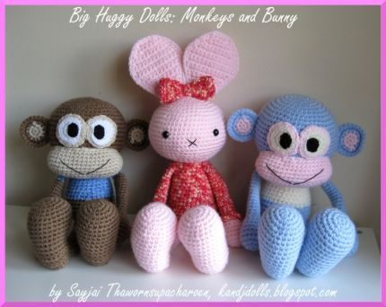 Free Crochet Doll Patterns | Huggy Bunny Crochet Pattern ~ Amigurumi crochet patterns ~ K and J