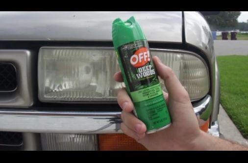 how to clean car headlights with bug spray