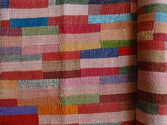 Patchwork Kantha Bedding, Handmade Kantha Quilt, Multi Color Brick Pattern, Stone Washed Fabric, Twin Size Bed Cover, Reversible
