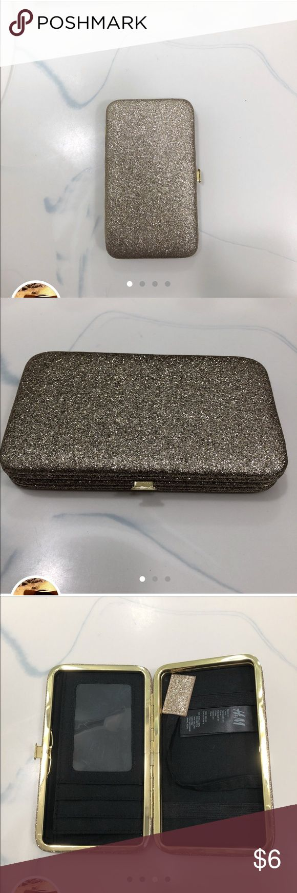iPhone 6 H&M glitter wallet clutch sparkly gold iPhone 6 H & M glitter wallet clutch sparkly glitter gold H&M Accessories Phone Cases