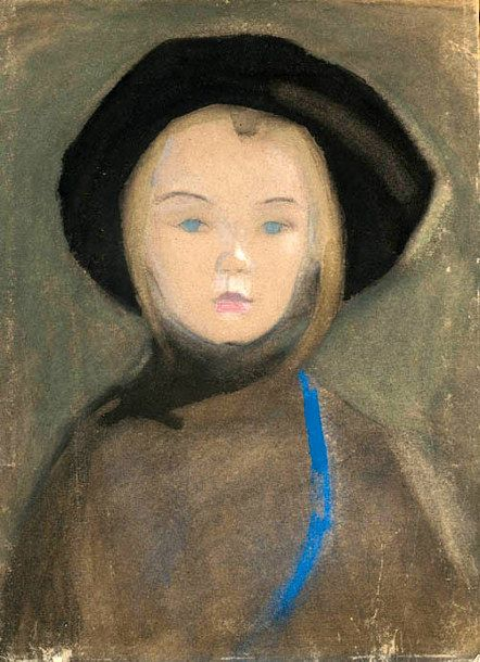 Helene Schjerfbeck (Finnish, 1862-1946) Girl with Blue Ribbon, 1909. Watercolour, gouache and pastel on buff paper.