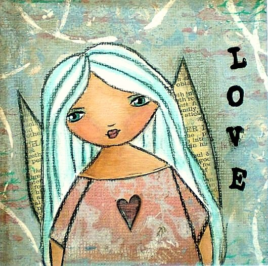 Angel Love Aqua PRIMITIVE Whimsical Matted by TheVintageArtist, £12.00