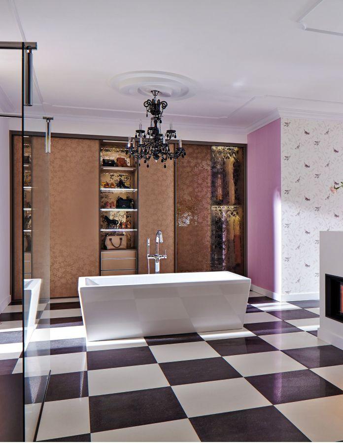 Badezimmer Mit Einem Integrierten Einbauschrank