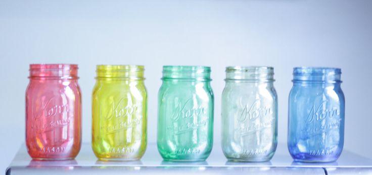CUSTOM LISTING: 3 colored tinted mason jars