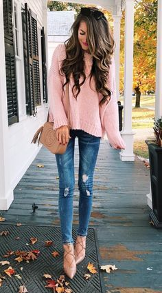 cozy pink sweater for fall | pink fashion | fall fashion | casual outfit style | ripped denim | what to wear on the weekend | blush pink | millennial pink