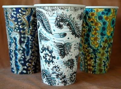 Sea cups by Gwyneth Leech.   www.gwynethsfullbrew.com  fantastic installation of drawings/cups in NYC