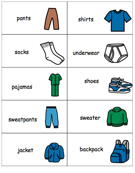 Labels to put on drawers. Helps a child to put clothes away. Free.