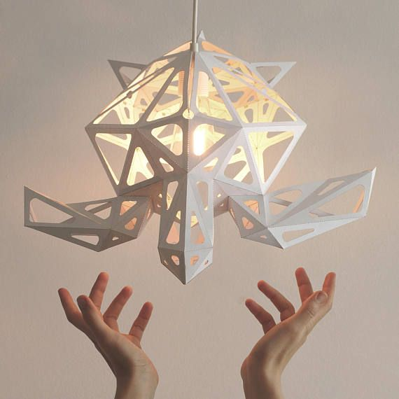 Wooden Lamp Structure With Paper Lampshade Origami Lampshade