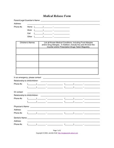 Use this printable medical release form to ensure your child's medical care in the event of an emergency.