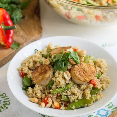 toasted and retro with scallops   peas air quinoa sugar jordan snap salad gs