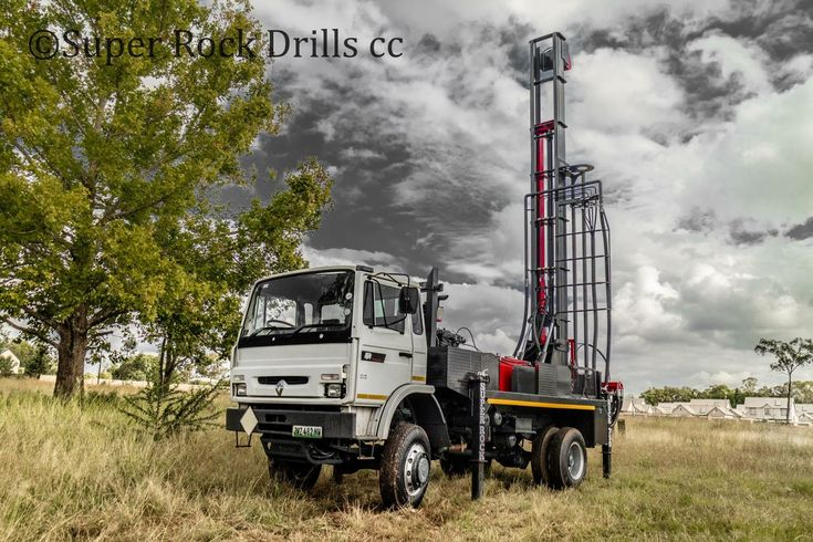A Super Rock 750 water well drill rig manufactured by Super Rock Drills in South Africa.