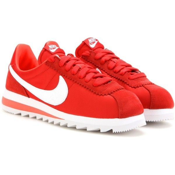 Nike Nike Classic Cortez Epic Sneakers (€99) found on Polyvore featuring women's fashion, shoes, sneakers, red, nike sneakers, red trainers, nike shoes, red sneakers and red shoes