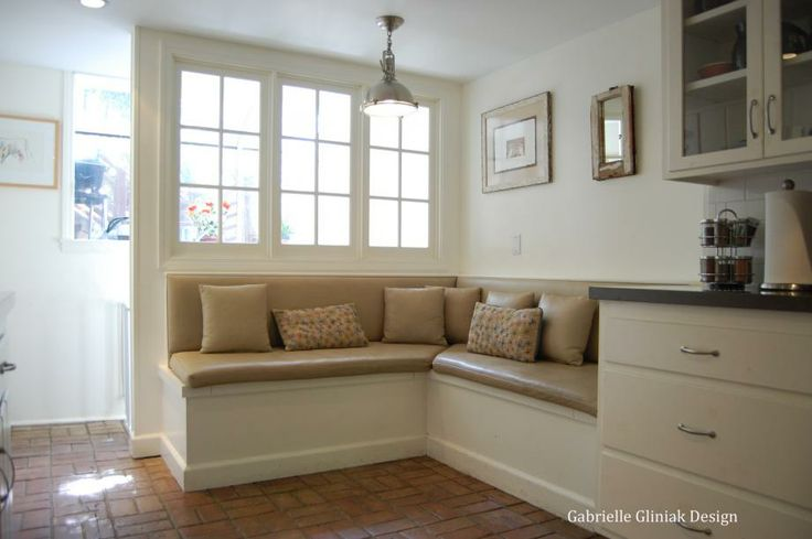 Custom Kitchen Banquette Sloped Back In Front Of Window