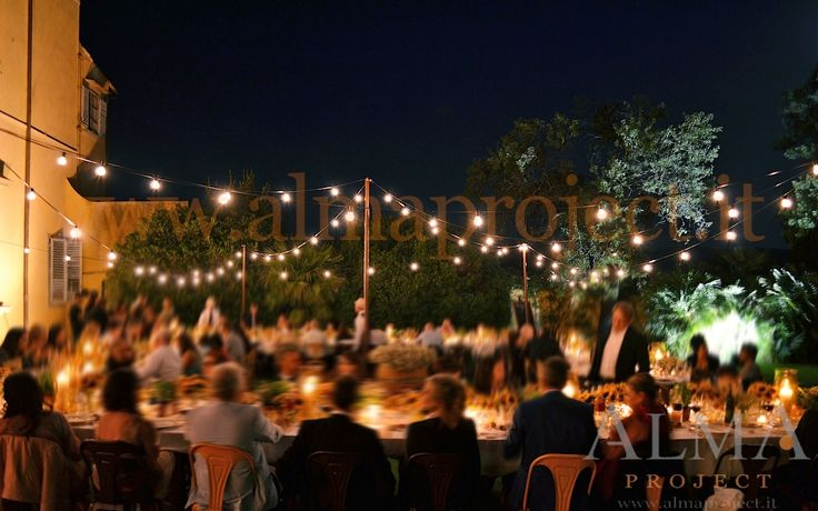 ALMA PROJECT @ Maiano - Light BULBS string fairy palo country dinner terrace facade uplights amber 22