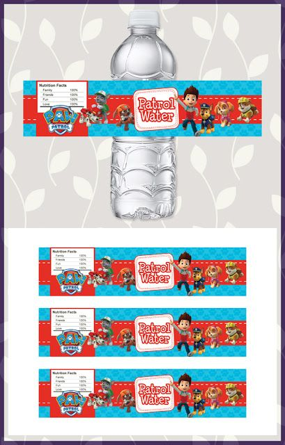 Paw Patrol Drink Label Blue * Paw Patrol Water Bottle Label * Paw Patrol Party Favors