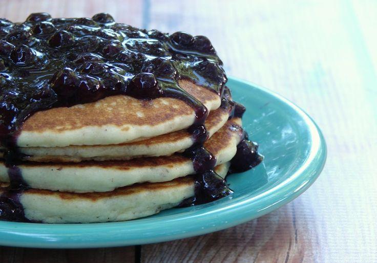Blueberry Sauce Recipe {No Sugar Added} + paleo pancakes