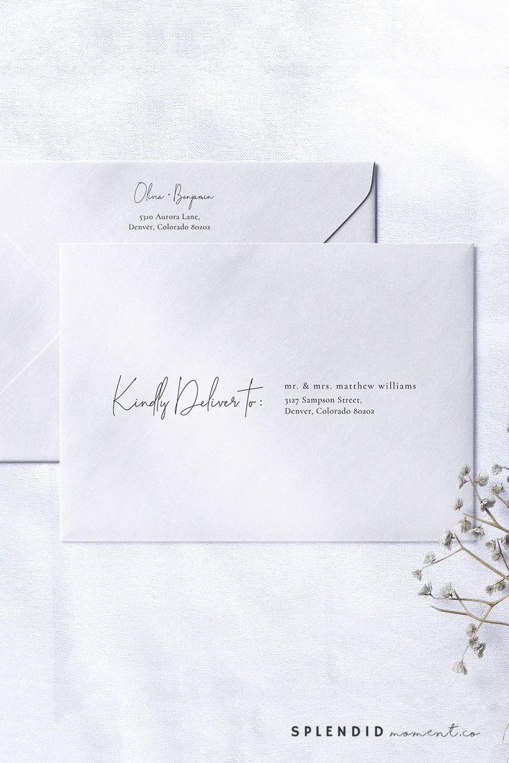 Modern Wedding Envelope Address Template, Printable