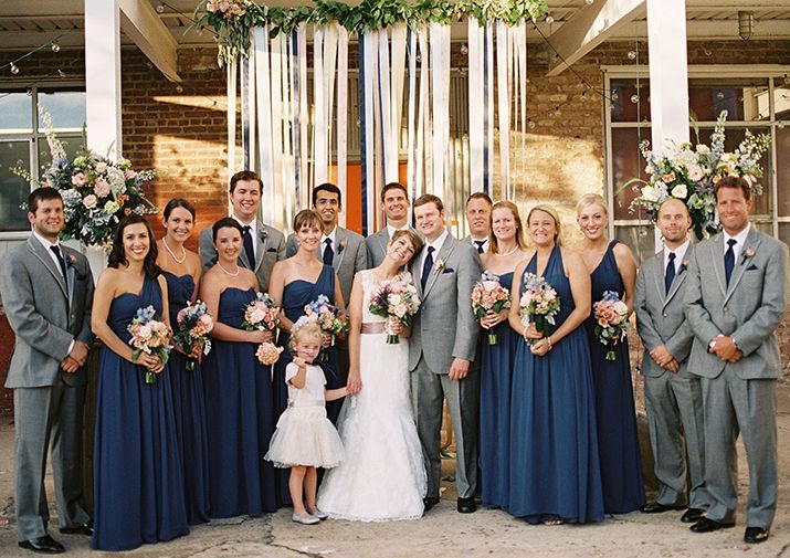 to wear - Bridesmaid navy dresses and gray suits video