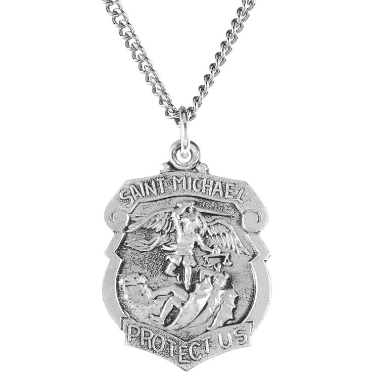 """Sterling Silver 27x21mm St. Michael Medal 14"""" Necklace"""