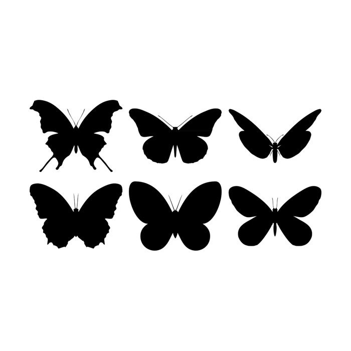 Free vector butterfly silhouettes