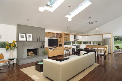 Floors to offset light wood cabinets    Eisner Design - contemporary - living room - new york - Eisner Design LLC