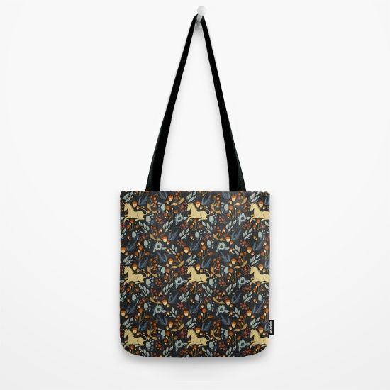Unicorn autumn forest pattern Tote Bag by Erika Biro | Society6