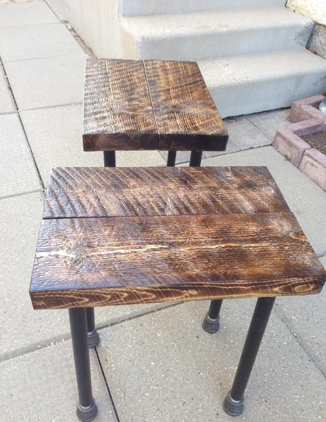 Firebrushed and clear coated rough sawn spruce end tables. firebrushkev@gmail.com