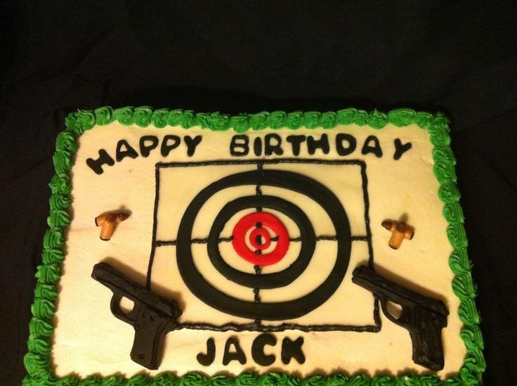 In Hand Gun Target Cake Album Birthday Cakes