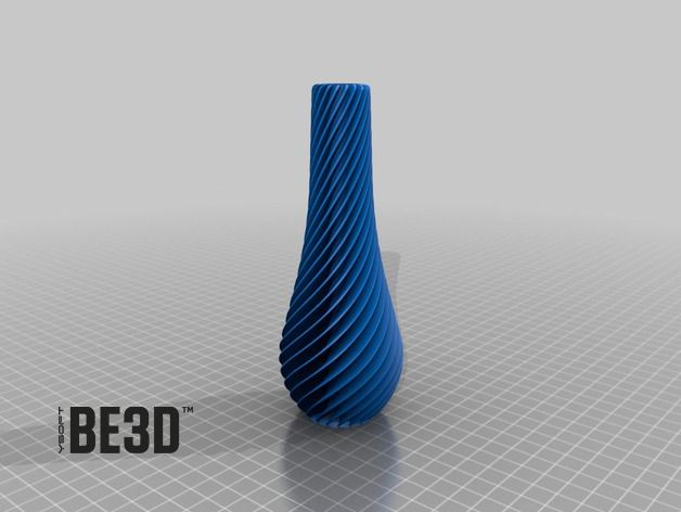 SPIRAL vases are optimized for fast 3D printing, they can be printed in 3:30 h (20 cm tall). Wall thickness is 0,7 mm and so it is best printed with 0,35 mm nozzle or 0,35 extrusion diameter.  Designed by Martin Žampach for YSoft be3D (http://martin.zampach.com/) printed on DeeRed printer.