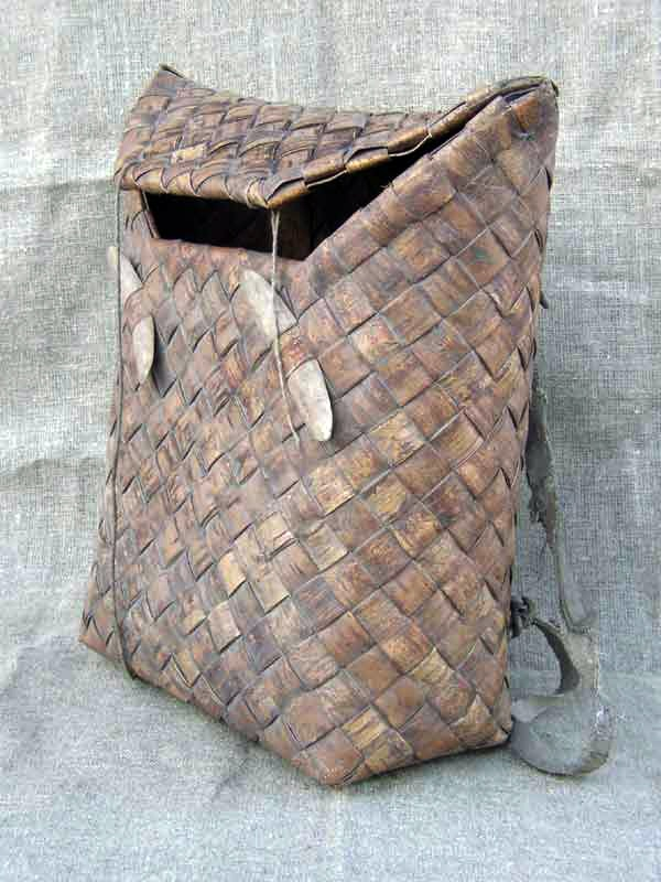 """Birch bark backpack. Finnish name for this is """"Tuohikontti"""" and for example my own grandfather used to make these back in the days.."""