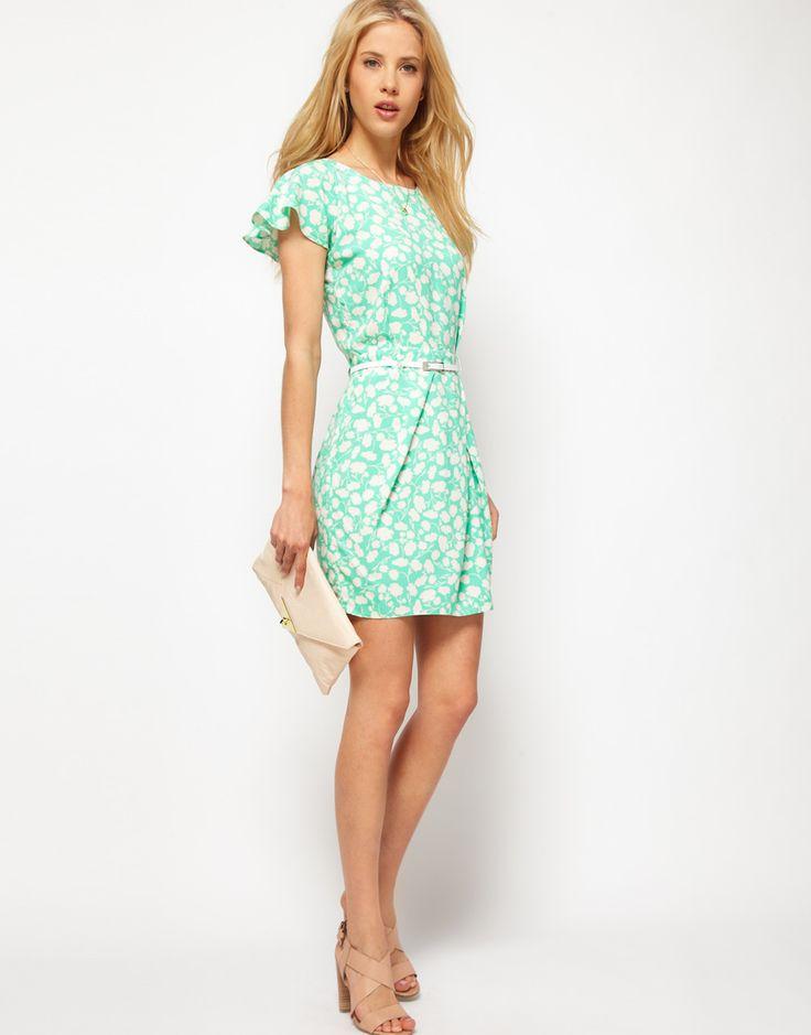 ASOS | ASOS Mini Tulip Dress With Flute Sleeves In Pastel Print at ASOS