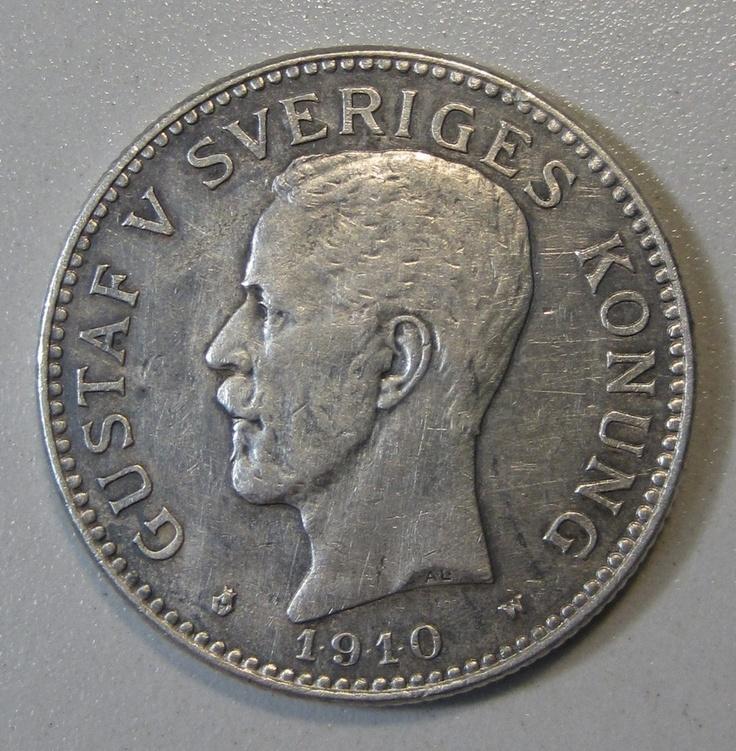 1910 w Sweden 2 Kronor Silver Coin Gustaf V | eBay | COINS ...