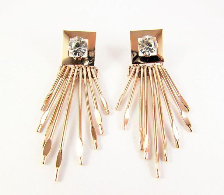 Rose Gold Plated 18K GP Crystal Dangle Stud Earrings Women Jewellery