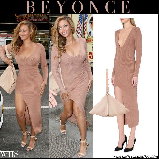 Beyonce in camel ribbed knitted plunging long dress with pink triangle wristlet