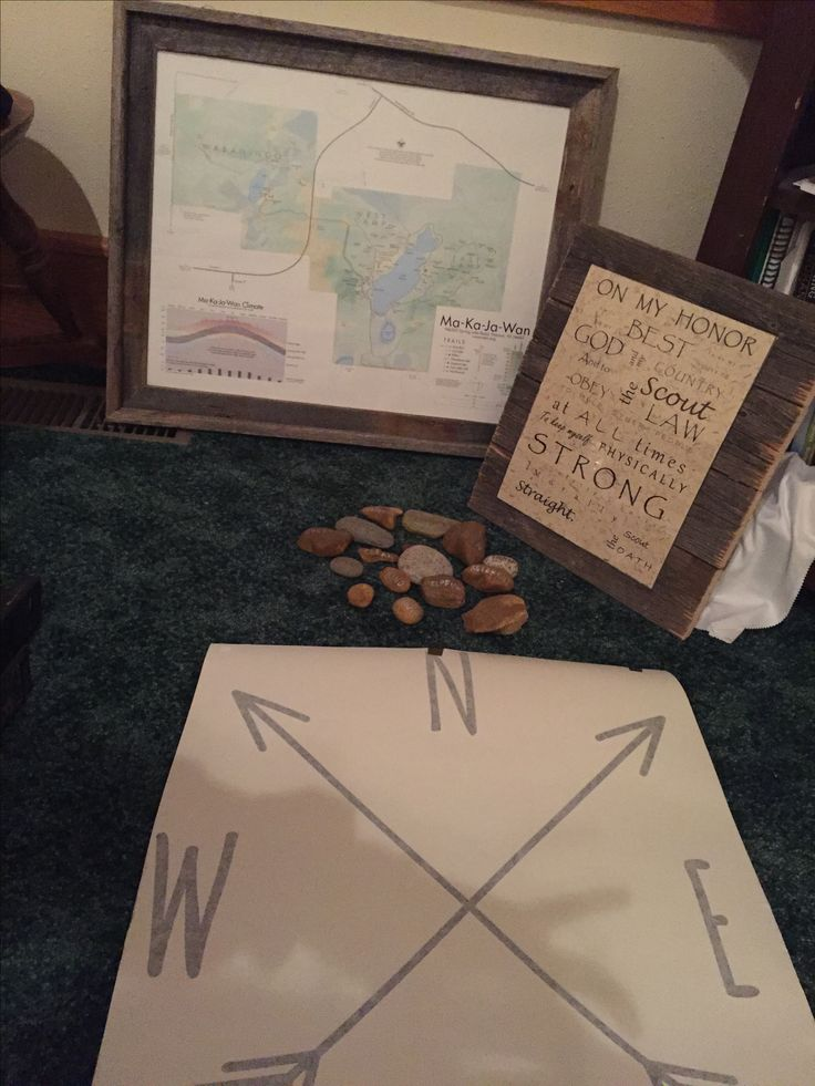 Boy Scout camp map, scout oath, scout law on rocks, & compass for ceiling