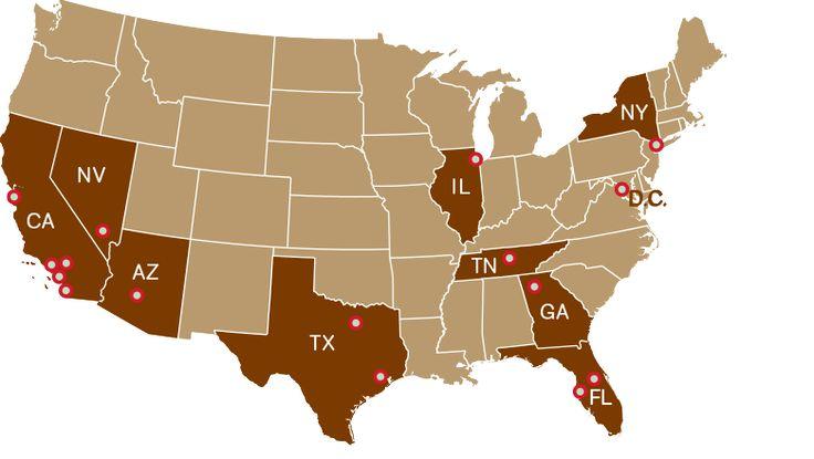 Sprinkles Cupcakes.  Atlanta, Georgia. Westlake Village, Beverly Hills, Los Angeles, Palo Alto, Glendale, Newport Beach & La Jolla, California. Chicago, Illinois. Dallas, Texas. Houston, Texas. Georgetown, D.C. Las Vegas, Nevada. Nashville, Tennessee. New York, New York. Scottsdale, Arizona. Tampa, Florida.