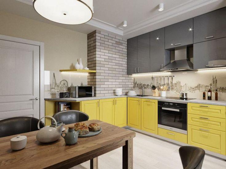 Sárga-szürke konyha változatos faldekoráció - 81m2-es háromszobás új építésű lakás lakberendezése