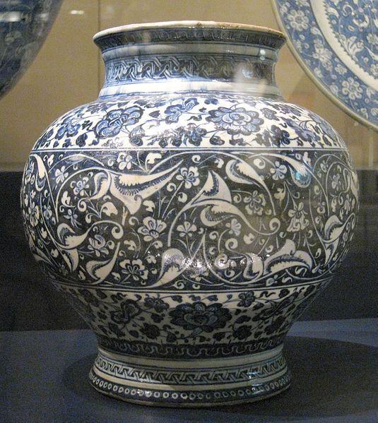Iznik, Turkey jar ,ca 1480. Fritware with underglaze cobalt blue decoration. Victoria and Albert Museum