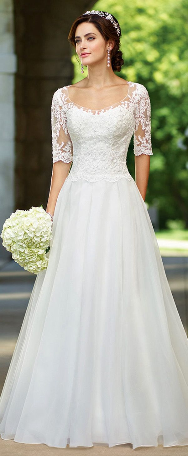 Elegant Tulle & Organza Scoop Neckline A-Line Wedding Dresses With Beaded Lace Appliques