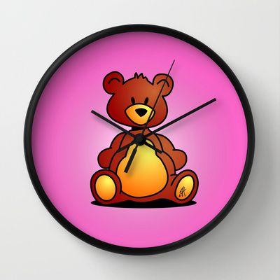 Cuddly Teddy Bear Wall Clock by Cardvibes - $30.00 #Cardvibes #Tekenaartje #Society6